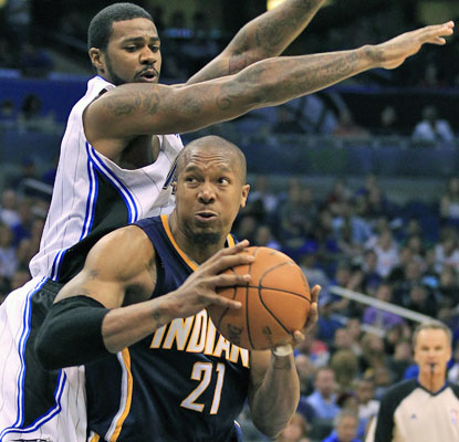 David West comes through for the Pacers in a big way with 26 points, four of which come in overtime.  (AP)
