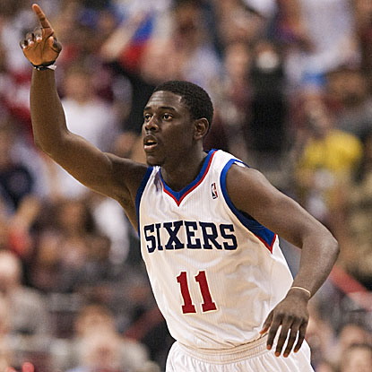 The 76ers' Jrue Holiday connects late in the game on consecutive 3-pointers to push a one-point lead into seven.  (US Presswire)