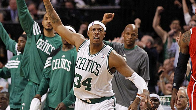 Paul Pierce reacts after hitting a 3-pointer in the Celtics' blowout victory. (US Presswire)