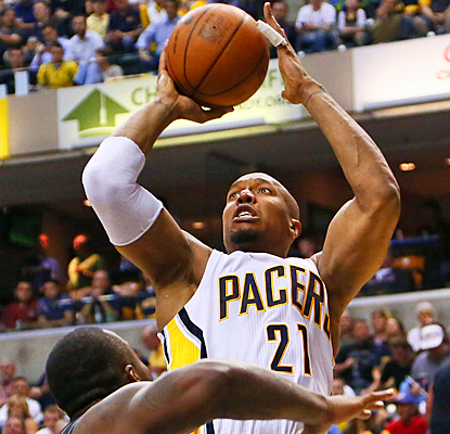 David West rises up against the Magic in Game 5 for 12 points and eight rebounds as the Pacers move on to the second round. (US Presswire)