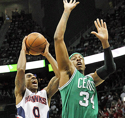 Jeff Teague drives to the basket against the Celtics' Paul Pierce for 16 points in Game 5. (AP)