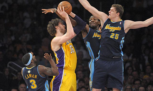 Denver would rather cover Pau Gasol (nine points on 4-of-11 shooting) than a off-target guard. (US Presswire)