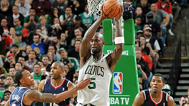 KG stands tall during the Hawks series -- averaging 18.7 points and just over 10 boards. (Getty Images)