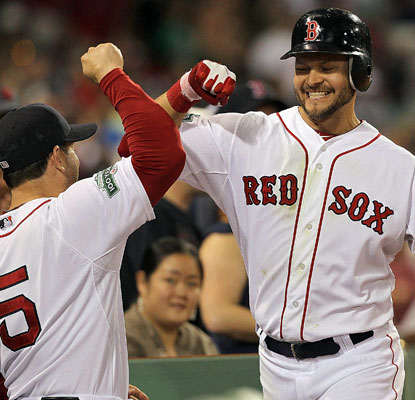 Cody Ross -- who homers in the sixth -- and the Red Sox finally have two consecutive wins to celebrate this month.  (Getty Images)