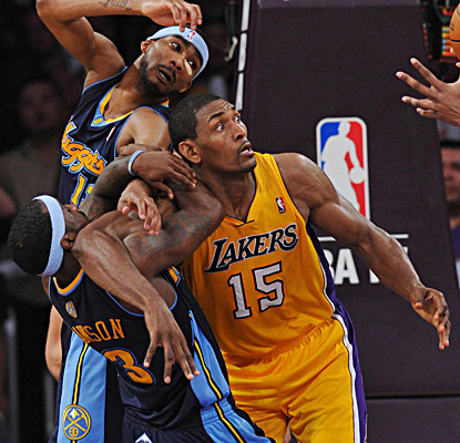 Metta World Peace returns from a seven-game suspension and scores 15 points to help the Lakers advance. (US Presswire)