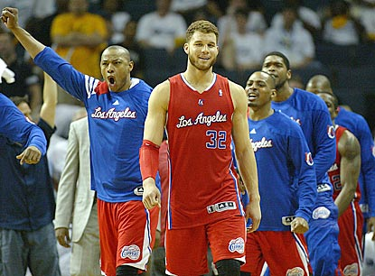Caron Butler (left) and Blake Griffin (32) help start the celebration for the Clippers, who will face the Spurs in Round 2.  (US Presswire)