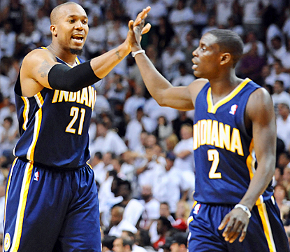 The Pacers' David West (left) and Darren Collison celebrate during their series-tying win in Game 2 against the Heat. (US Presswire)
