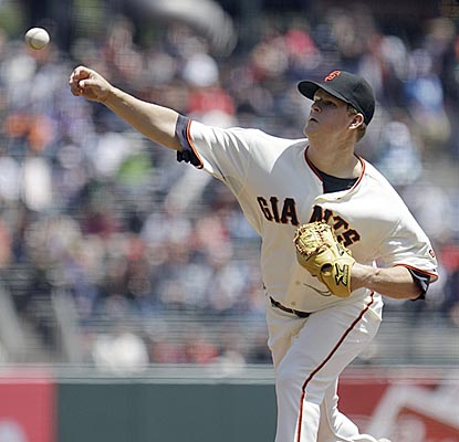 After giving up four runs in the first three innings, Matt Cain regains control and gets enough support to earn the victory.  (AP)