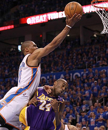 Russell Westbrook skies over Kobe Bryant in the first quarter. Westbrook winds up with a team-high 28 points.  (Getty Images)