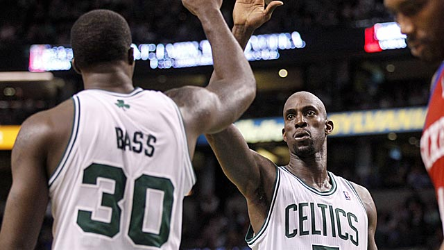 Kevin Garnett and Brandon Bass combine for 47 points to lead the Celtics. (US Presswire)