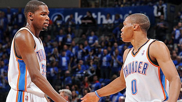 Durant and Westbrook, who score 22 and 10, bookend five OKC players in double figures. (Getty Images)