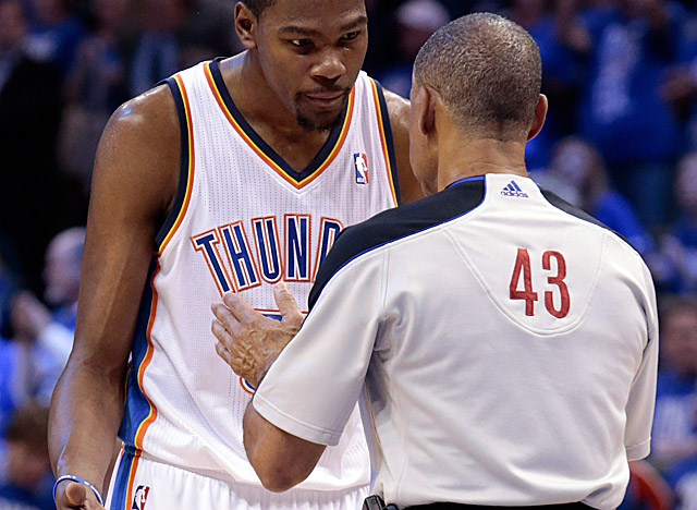 Despite Durant's plea for a call in Game 3, officials declined to whistle a foul on the Spurs. (Getty Images)