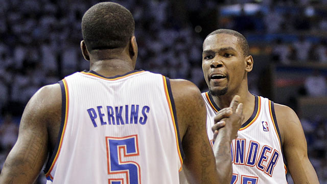 Kendrick Perkins and Kevin Durant -- two key pieces to the Thunder's run for this year's NBA title. (AP)