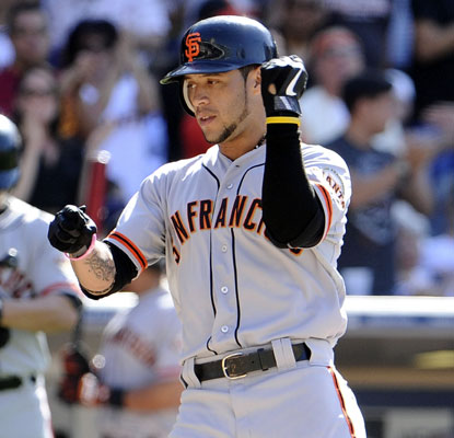 Gregor Blanco hits a home run to help the Giants win their 14th of the last 19 games against the MLB-worst Padres.  (Getty Images)