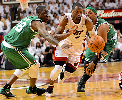 Dwyane Wade gets through the Celtics' defense for 23 points in a decisive Game 7 victory. (US Presswire)