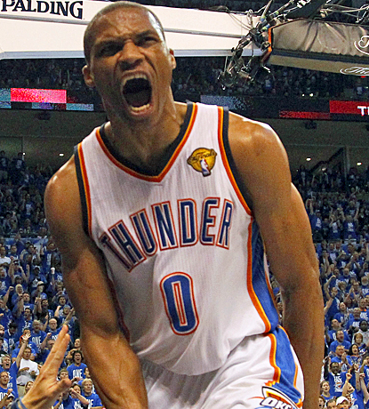 Russell Westbrook celebrates after scoring two of his 27 points as the Thunder drop the Heat in Game 1. (US Presswire)