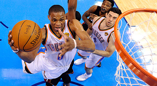 The Thunder's Russell Westbrook leads the NBA Finals in assists but also in shot attempts. (Getty Images)