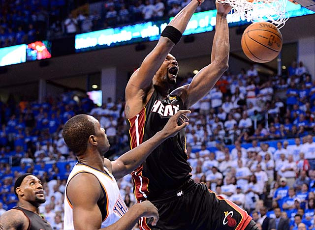 A healthy Chris Bosh is cancelling out the advantages Serge Ibaka brings to the Thunder. (US Presswire)
