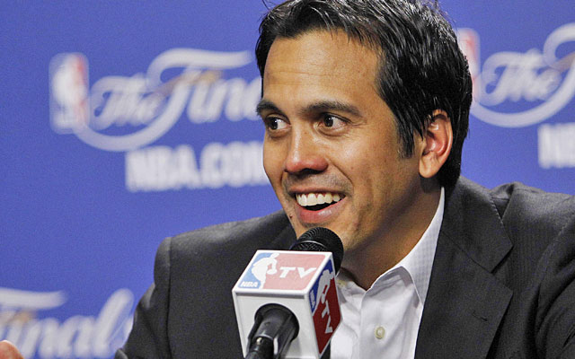What a dreadful coach Erik Spoelstra must be, taking his team to back-to-back NBA Finals. (AP)
