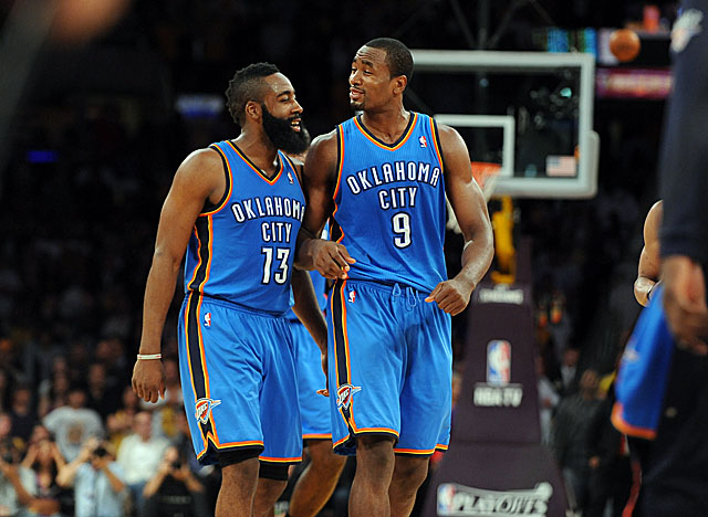 Keeping both James Harden (left) and Serge Ibaka may cost OKC more than it can afford. (Getty Images)