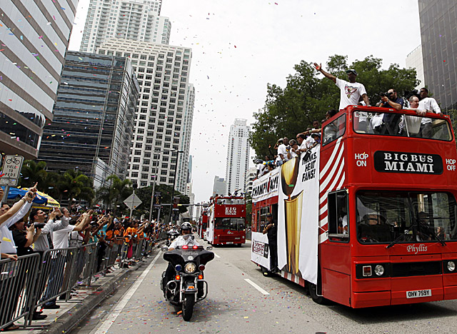 Dwyane Wade leads the Heat's championship parade through downtown Miami. (AP)