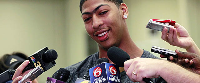 Known for both his game and his eyebrow, Davis has applied to trademark the latter. (AP)