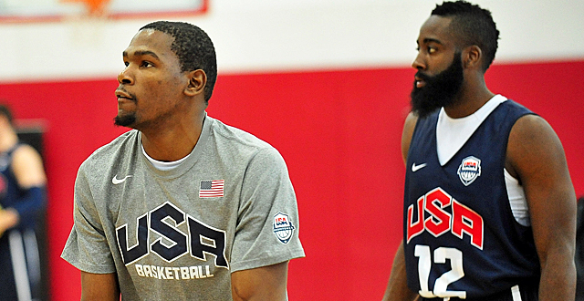 Kevin Durant (left) and James Harden give Team USA offensive firepower. (US Presswire)