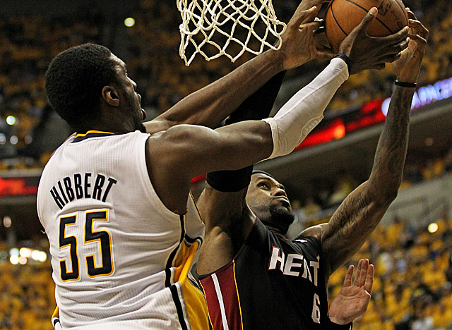Hibbert was a force early in the second round of the playoffs vs. LeBron and the Heat. (Getty Images)