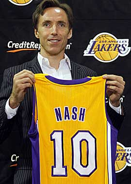Nash's $27M deal puts L.A.'s payroll and tax bill for '12-13 to $105M for nine players. (AP)