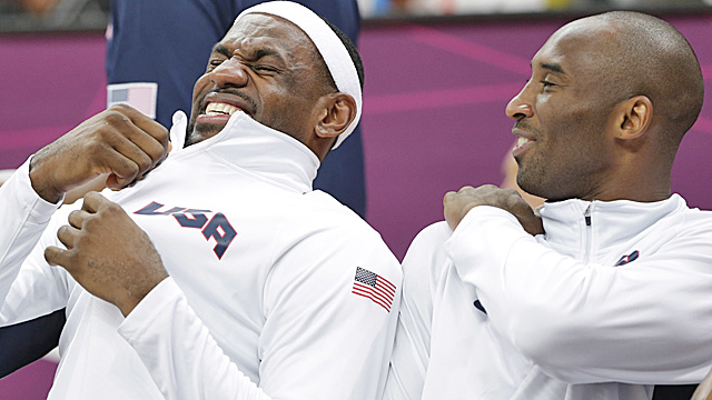 LeBron James and Kobe Bryant are having fun in London, but Team USA's dominance has become rote. (AP)