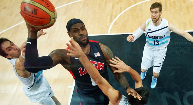 LeBron James and the U.S. ramp up the intensity in the second half to crush Argentina. (Getty Images)