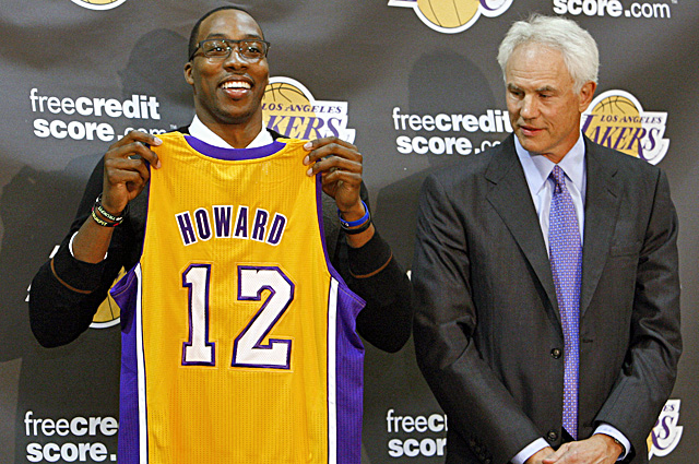 Dwight Howard poses with his new jersey along with Lakers general manager Mitch Kupchak. (AP)