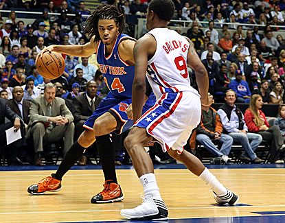 Knicks small forward Chris Copeland drives on the Nets' MarShon Brooks. Copeland scored 16 points. (US Presswire)