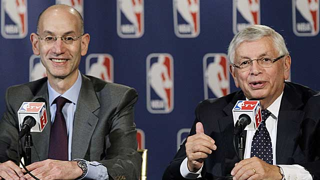 Adam Silver, left, will take over for NBA commissioner David Stern on Feb. 1, 2014. (AP)