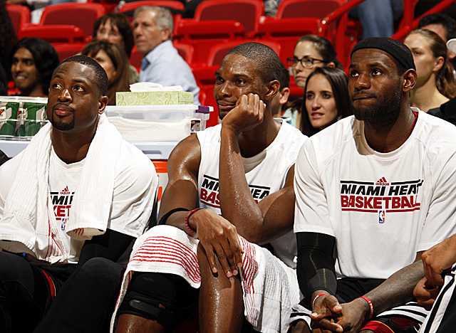 Wade, Bosh and James will lead the Heat against the Celtics to open their season. (Getty Images)