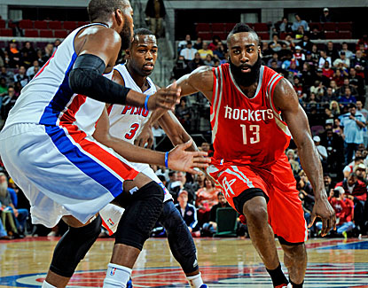 James Harden falls just short of his career high of 40 points, but his 12 assists are a career best. (Getty Images)
