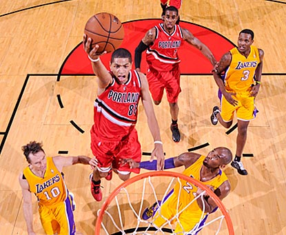 Nicolas Batum soars over the Lakers and winds up leading the Trail Blazers with 26 points.  (Getty Images)