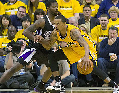Guard George Hill scores 18 points to go with 8 rebounds and 5 assists in the Pacers' win. (US Presswire)