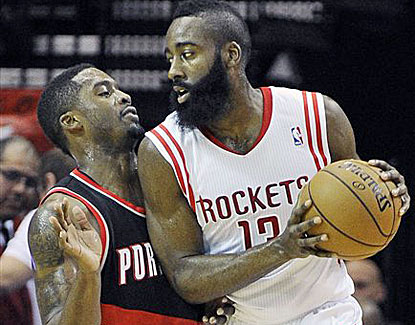 James Harden scores 24 points against the Blazers, but misses 16 of 24 shots to go with 5 turnovers. (AP)