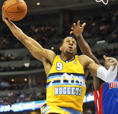 Andre Iguodala scores 17 points, six in the final three minutes, to push the Nuggets into the win column.  (US Presswire)