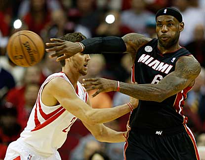 LeBron James scores 38 points for Miami as the Heat come back in the fourth to down Houston. (Getty Images)