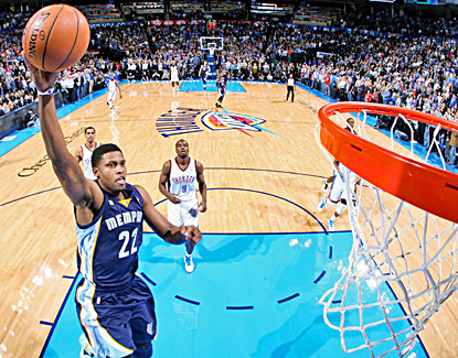 Rudy Gay scores a season-high 28 points in the Grizzlies' 107-97 win over the Thunder. (Getty Images)