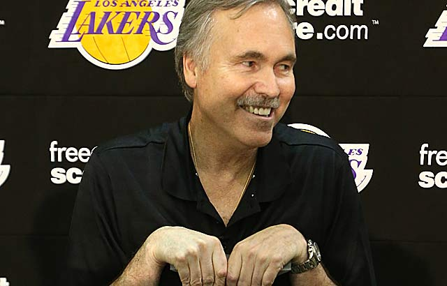 Mike D'Antoni, on crutches after knee surgery, says Lakers are not a five-year project. (Getty Images)