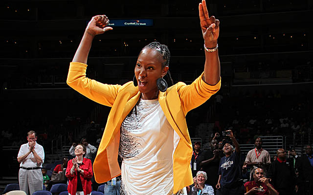 Holdsclaw, here in August at a Mystics event, had bond set at $100,000 on Friday. (Getty Images)