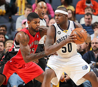 Zach Randolph, trying to back down Amir Johnson here, records his 12th double-double in 13 games this season.  (Getty Images)