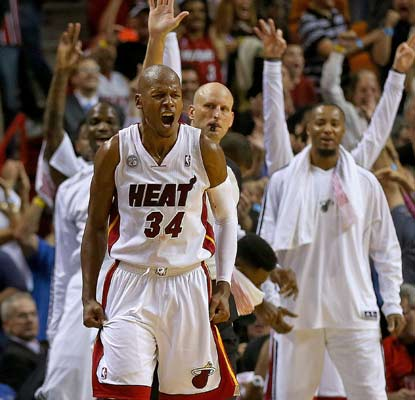 Ray Allen comes up big for Miami again, nailing a 3-pointer with 22 seconds left to give the Heat the lead.  (Getty Images)