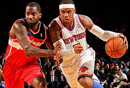 Carmelo Anthony and the Knicks beat the Wizards for the 10th straight time, the longest active streak against one team. (Getty Images)