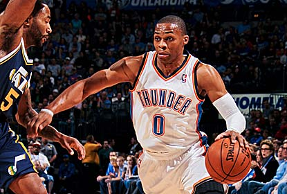 Russell Westbrook has 23 points, 13 boards and 7 steals as the Thunder reel off their third straight double-digit win. (Getty Images)
