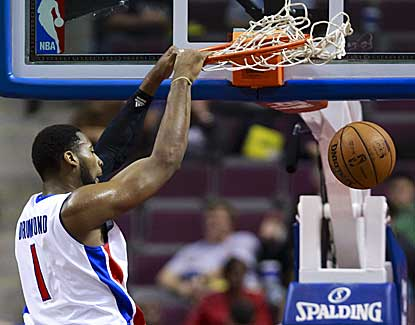 Pistons center Andre Drummond flushes the slam for two of his seven points against Cleveland. (US Presswire)