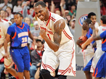 Deshaun Thomas can't help but feel good about the Buckeyes' performance during a dominant first half.  (Getty Images)
